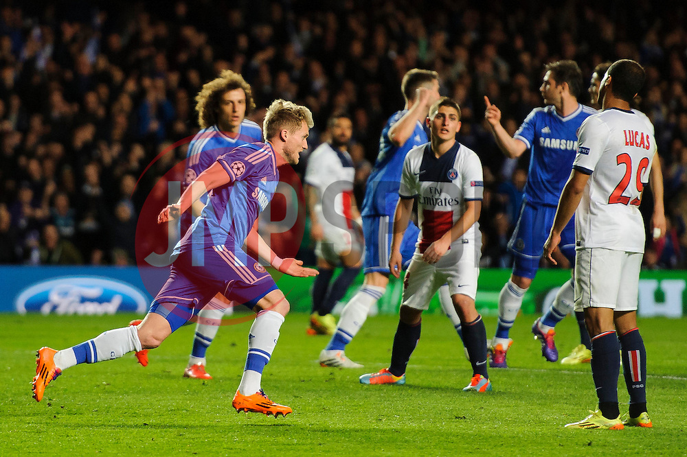 Chelsea Forward Andre Schurrle (GER) celebrates scoring a goal to give his side a 1-0 lead - Photo mandatory by-line: Rogan Thomson/JMP - 07966 386802 - 08/04/2014 - SPORT - FOOTBALL - Stamford Bridge, London - Chelsea v Paris Saint-Germain - UEFA Champions League Quarter-Final Second Leg.