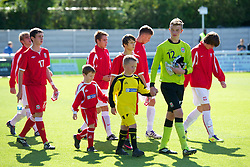 BANGOR, WALES - Thursday, August 30, 2012: Wales' goalkeeper Lewis Thomas walks out to face Poland during the International Friendly Under-16's match at the Nantporth Stadium. (Pic by David Rawcliffe/Propaganda)
