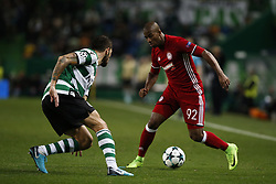 November 22, 2017 - Lisbon, Portugal - Olympiakos's forward Seba  (R) vies for the ball with Sporting's defender Cristiano Piccini (L)  during Champions League 2017/18 match between Sporting CP vs Olympiakos Piraeus, in Lisbon, on November 22, 2017. (Credit Image: © Carlos Palma/NurPhoto via ZUMA Press)