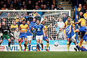 Chesterfield midfielder Louis Reed (25)  gets in a shot during the EFL Sky Bet League 2 match between Chesterfield and Mansfield Town at the Proact stadium, Chesterfield, England on 14 A pril 2018. Picture by Nigel Cole.