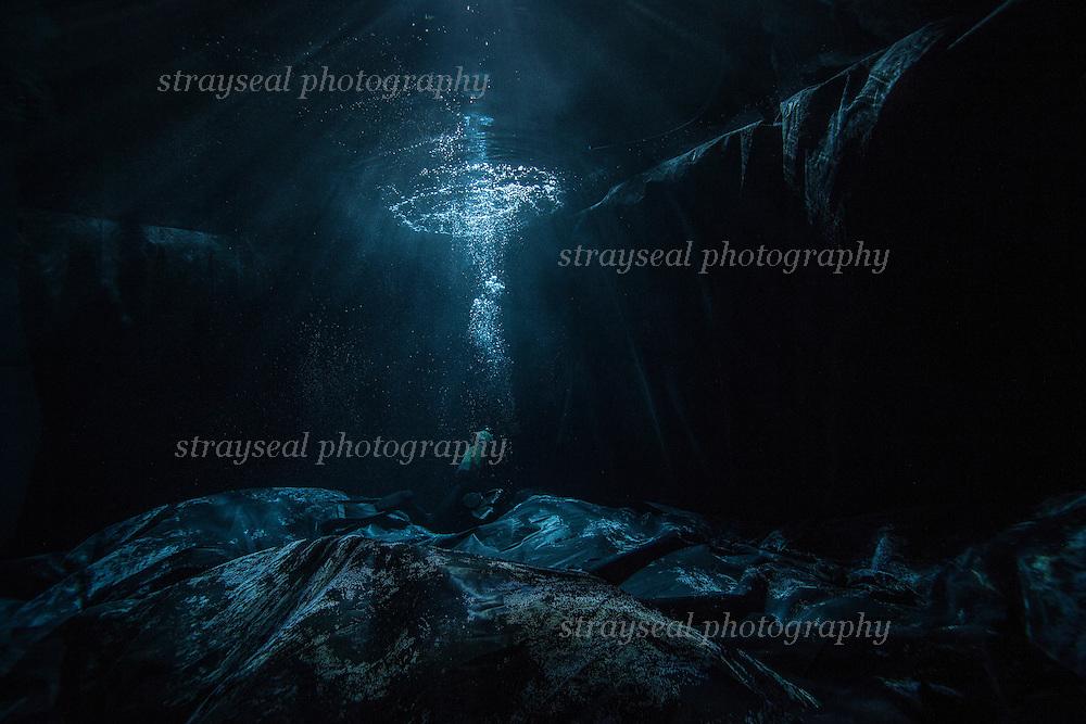 Underwater film set. Underwater stage in Scotland.