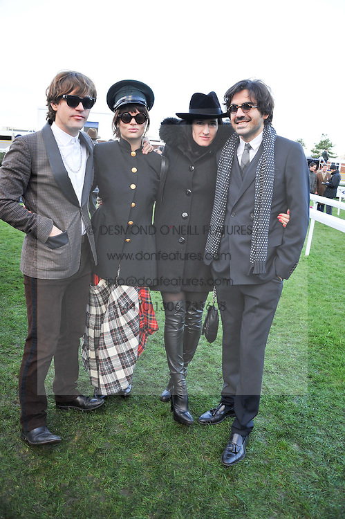 Left to right, JACK PENATE, TESSA EDWARDS, AMY MOLYNEAUX and LAURENT BENHAMOU at the 2012 Hennessy Gold Cup at Newbury Racecourse, Berkshire on 1st December 2012