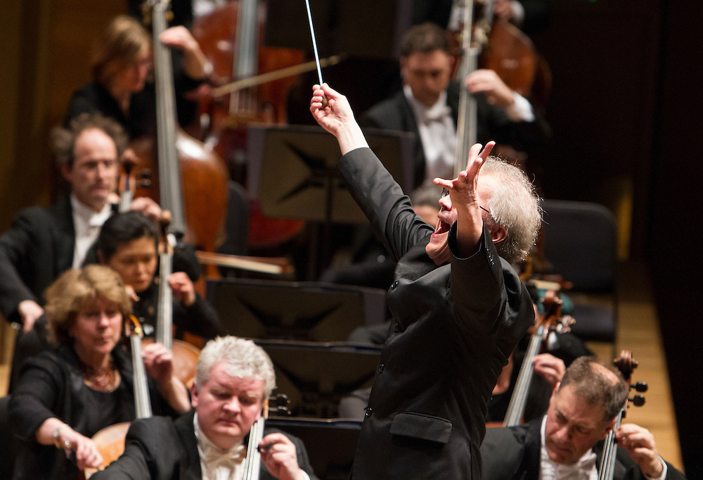 Osmo Vänskä conducts the Minnesota Orchestra in a program of Sibelius at Orchestra Hall in Minneapolis March 29, 2014.