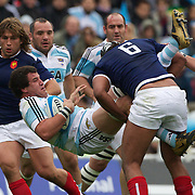 Alejandro Campos, Argentina, is tackled by Thierry Dusautoir, France during the Argentina V France test match at Estadio Jose Amalfitani, Buenos Aires,  Argentina. 26th June 2010. Photo Tim Clayton...