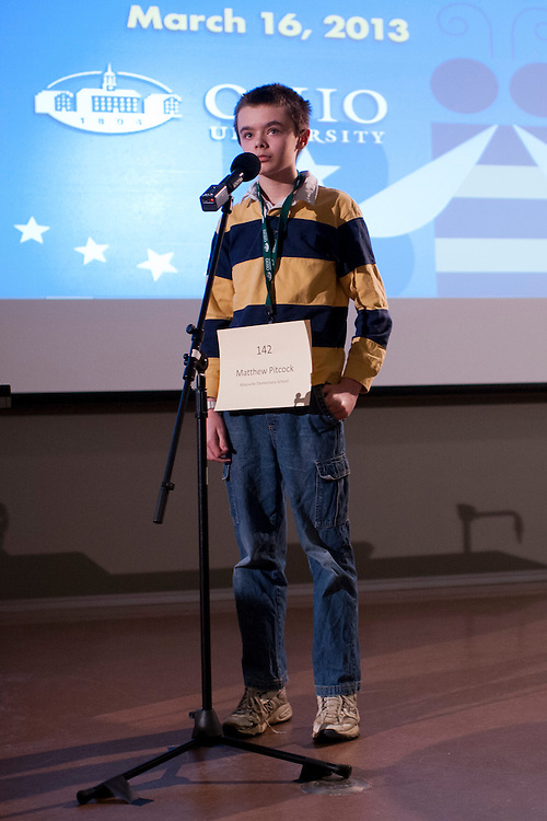Matthew Pitcock of Maysville Middle School located in Zanesville, OH, was announced the winner of the Southeast Ohio Regional Spelling Bee Saturday, March 16, 2013. Pitcock will go to the Scripps National Spelling Bee located near Washington D.C. in May.