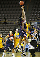 February 24 2011: Illinois Fighting Illini forward Karisma Penn (00) and Iowa Hawkeyes center Morgan Johnson (12) battle for the tipoff during the first half of an NCAA women's college basketball game at Carver-Hawkeye Arena in Iowa City, Iowa on February 24, 2011. Iowa defeated Illinois 83-64.