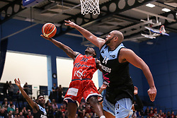Jalan McCloud of Bristol Flyers goes for a layup - Photo mandatory by-line: Arron Gent/JMP - 28/04/2019 - BASKETBALL - Surrey Sports Park - Guildford, England - Surrey Scorchers v Bristol Flyers - British Basketball League Championship
