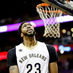 Nov 29, 2016; New Orleans, LA, USA; New Orleans Pelicans forward Anthony Davis (23) against the Los Angeles Lakers during the first quarter of a game at the Smoothie King Center. Mandatory Credit: Derick E. Hingle-USA TODAY Sports