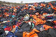 Mithymna, Lesvos, Greece - 27.02.2016 <br /> <br /> Dump for refugee boats, lifejackets and jetsam in the hills near the small town of Mithymna Lesvos.<br /> <br /> Muellkippe f&uuml;r Fluechtlingsboote, Schwimmwesten und Strandgut in den Huegeln nahe der Kleinstadt Mithymna auf Lesbos.<br /> <br /> Foto: Bjoern Kietzmann