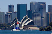 The opera (by Danish architect Jorn Utzon) seen from Cremorne point, Sydney, Australia. January 2nd-11th 2007.
