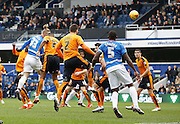 Queens Park Rangers forward Sebastian Polter scores with his head early during the Sky Bet Championship match between Queens Park Rangers and Wolverhampton Wanderers at the Loftus Road Stadium, London, England on 23 January 2016. Photo by Andy Walter.