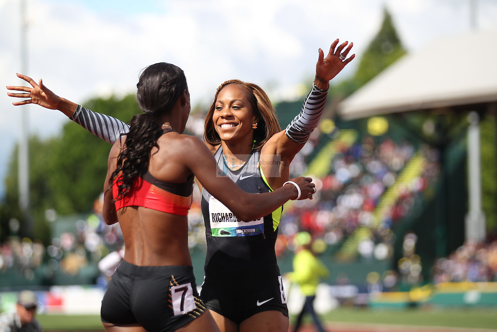 Sanya Richards-Ross (R) celebrates with Dee Dee Trotter after winning the 400m final during day 3 of the U.S. Olympic Trials for Track & Field at Hayward Field in Eugene, Oregon, USA 24 Jun 2012..(Jed Jacobsohn/for The New York Times)....