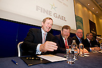 An Taoiseach Enda Kenny T.D. and Minister for Health James O'Reilly at the Fine Gael  Parliamentary Party meeting in the Radisson Blu Hotel Galway. Photo:Andrew Downes.