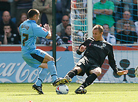 Photo: Steve Bond.<br />Coventry City v West Bromwich Albion. Coca Cola Championship. 28/04/2007. Michale Mifsud (L) is tackled