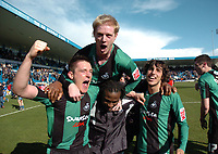 Photo: Tony Oudot/Richard Lane Photography. <br /> Gilingham Town v Swansea City. Coca-Cola League One. 12/04/2008. <br /> Swansea players left to right Marcos Painter, captain Alan Tate, Jason Scotland and matchwinner Guillem Bauza celebrate their promotion