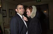 Henrietta Hunt and Zac Biddu. pre-Gumball party. Mayfair Club. London. 25 May 2001. © Copyright Photograph by Dafydd Jones 66 Stockwell Park Rd. London SW9 0DA Tel 020 7733 0108 www.dafjones.com