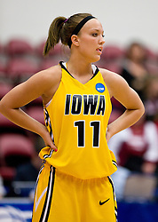 March 20, 2010; Stanford, CA, USA; Iowa Hawkeyes center Trisha Nesbitt (11) during the first half against the Rutgers Scarlet Knights in the first round of the 2010 NCAA womens basketball tournament at Maples Pavilion. Iowa defeated Rutgers 70-63.