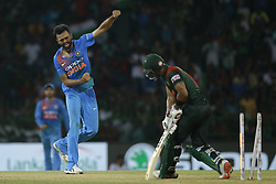 March 18, 2018 - Colombo, Sri Lanka - Indian cricketer Jaydev Unadkat celebrates during the final Twenty-20 cricket match of NIDAHAS Trophy  between Bangladesh and India at R Premadasa cricket ground, Colombo, Sri Lanka on Sunday 18 March 2018. (Credit Image: © Tharaka Basnayaka/NurPhoto via ZUMA Press)