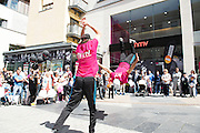 06/07/2014  Break dancers at hmv Galway opening in edward Square<br />  Photo:Andrew Downes