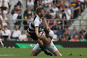 Twickenham, England, 27th May 2018. Quilter Cup, Baa Baa's, Finn RUSSELL. Tackled By Jack SINGLTON, During the  England vs Barbarians, Rugby Match at RFU. Stadium, Twickenham. UK.  <br /> <br /> © Peter Spurrier/Alamy Live News