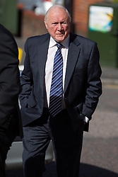 © Licensed to London News Pictures . 02/05/2013 . Preston , UK . Broadcaster STUART HALL arrives at Preston Crown Court this morning (Thursday 2nd May) for a pre trial hearing . Hall is charged with rape and a series of historic sexual assaults . Photo credit : Joel Goodman/LNP