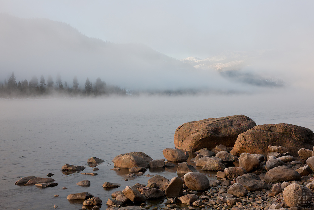 """Donner Lake Morning 5"" - Boulders and fog on Donner Lake in Truckee, CA photographed in the early morning."