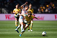 SYDNEY, AUSTRALIA - NOVEMBER 09: Hayley Raso of Australia and Francisca Mardones of Chile battle for the ball during the International friendly soccer match between Matildas and Chile on November 09, 2019 at Bankwest Stadium in Sydney, Australia. (Photo by Speed Media/Icon Sportswire)