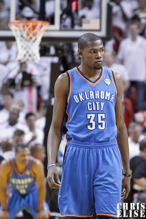 19 June 2012: Oklahoma City Thunder small forward Kevin Durant (35) is seen during the Miami Heat 104-98 victory over the Oklahoma City Thunder, in Game 4 of the 2012 NBA Finals, at the AmericanAirlinesArena, Miami, Florida, USA.