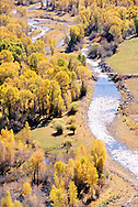 Provo River in Woodland, Utah, above Jordanelle Reservoir from aerial perspective