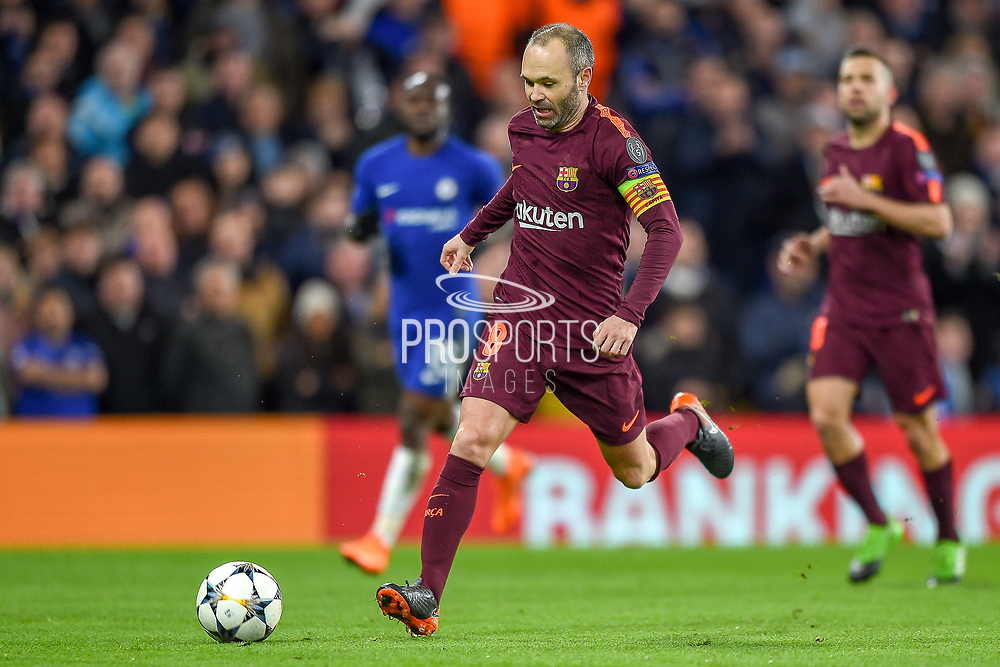Barcelona midfielder Andres Iniesta (8) during the Champions League match between Chelsea and Barcelona at Stamford Bridge, London, England on 20 February 2018. Picture by Martin Cole.