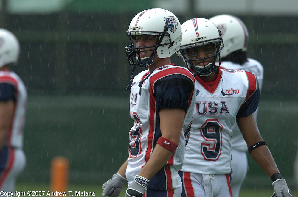 Team USA vs Team Germany..Bob Awrey warms up before the start of the game against Team Germany at Kawasaki Stadium.
