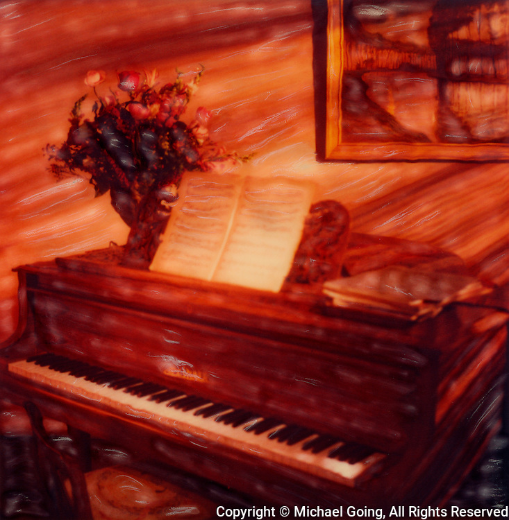 altered Polaroid photo of Blüthner baby grand piano with sheet music