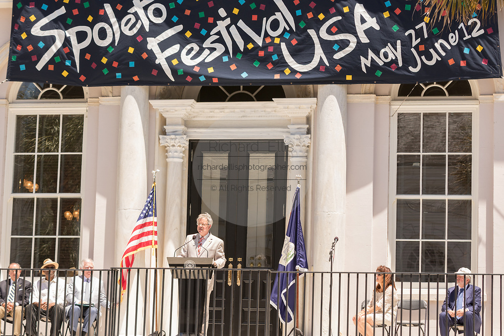The new Charleston Mayor John Tecklenburg kicks off the annual Spoleto Festival USA, a 17-day performing arts festival May 27, 2016 in Charleston, South Carolina. The festival began with remembrances of the nine people fatally shot in last years AME church shooting.