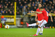 Manchester United midfielder Bruno Fernandes (18) takes a freekick during the Europa League match between Club Brugge and Manchester United at Jan Breydel Stadion, Brugge, Belguim on 20 February 2020.