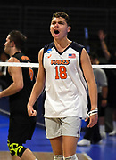 Pepperdine Waves setter Robert Mullahey (18) celebrates during an NCAA Championships opening round match againstthe Princeton Tigers, Wednesday, April 30, 2019, in Long Beach, Calif. Pepperdine defeated Princeton 25-23, 19-25, 25-16, 22-25, 15-8.