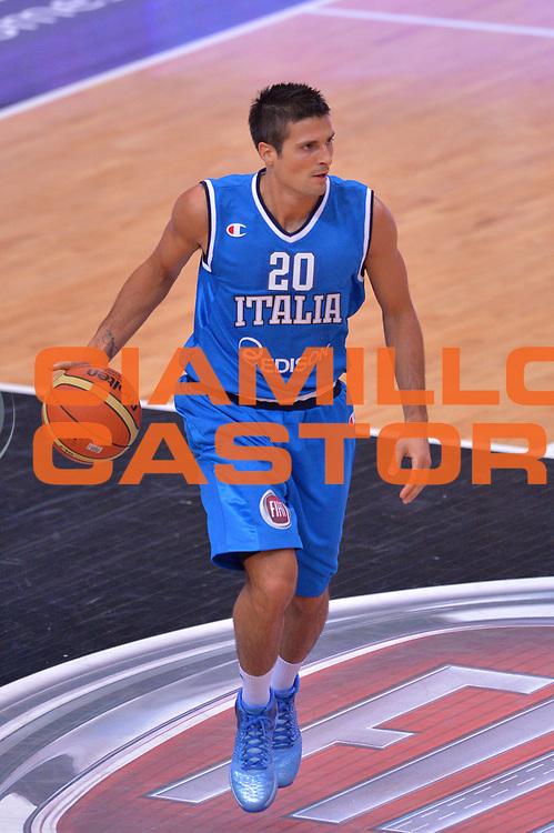 DESCRIZIONE : Trento Nazionale Italia Uomini Trentino Basket Cup Italia Olanda Italy Holland<br /> GIOCATORE : Andrea Cinciarini<br /> CATEGORIA : Palleggio<br /> SQUADRA : Italia Italy<br /> EVENTO : Trentino Basket Cup<br /> GARA : Italia Olanda Italy Holland<br /> DATA : 11/07/2014<br /> SPORT : Pallacanestro<br /> AUTORE : Agenzia Ciamillo-Castoria/Max.Ceretti<br /> Galleria : FIP Nazionali 2014<br /> Fotonotizia : Trento Nazionale Italia Uomini Trentino Basket Cup Italia Olanda Italy Holland