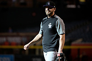 Apr 28, 2017; Phoenix, AZ, USA; Colorado Rockies infielder Mark Reynolds (12) smiles while warming up prior to the game against the Arizona Diamondbacks at Chase Field. Mandatory Credit: Jennifer Stewart-USA TODAY Sports