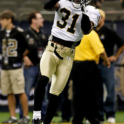 August 12, 2011; New Orleans, LA, USA;  New Orleans Saints safety Pierson Prioleau (31) prior to kickoff of a preseason game against the San Francisco 49ersat the Louisiana Superdome. Mandatory Credit: Derick E. Hingle