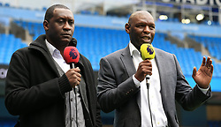 Shaun Goater (right) and Emile Heskey speak for pre match TV coverage ahead of Manchester City against Liverpool.