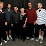 October 19, 2012, Boston, MA:<br /> Pete Sampras, Ivan Lendl, Jim Courier, and John McEnroe pose with guests during the PowerShares tennis series at the Boston Garden in Boston, Massachusetts October 19, 2012.<br /> (Photo by Billie Weiss/Boston Red Sox)