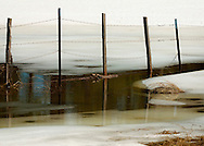 Wooden fence posts surrounded by water and melting ice - Northern Arizona