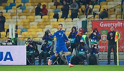 KIEV, UKRAINE - Easter Monday, March 28, 2016: Ukraine's Andriy Yarmolenko celebrates scoring the first goal against Wales during the International Friendly match at the NSK Olimpiyskyi Stadium. (Pic by David Rawcliffe/Propaganda)