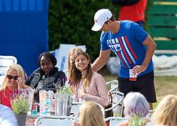 LIVERPOOL, ENGLAND - Saturday, June 23, 2018: Robert Kendrick (USA) speaks with Corinna Dentoni (ITA) during day three of the Williams BMW Liverpool International Tennis Tournament 2018 at Aigburth Cricket Club. (Pic by Paul Greenwood/Propaganda)