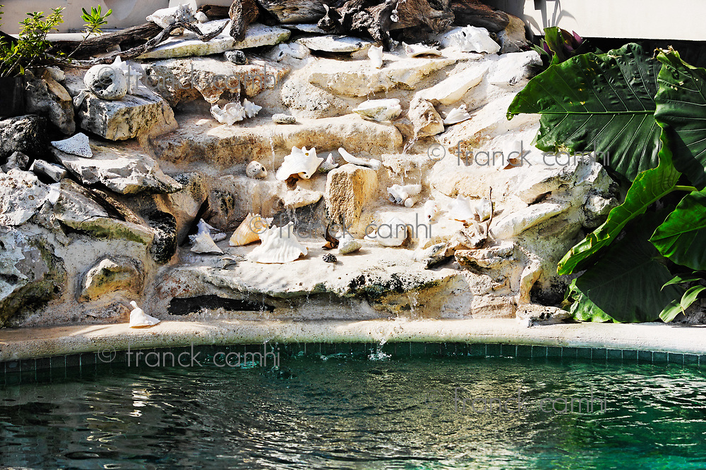 sea shell pool on the terrace of a cabanas with a view  of the beautiful white sand beach of tulum in yucatan mexico