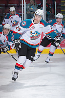 KELOWNA, CANADA - JANUARY 2: Colton Heffley #25 of the Kelowna Rockets warms up on the ice against the  Victoria Royals at the Kelowna Rockets on January 2, 2013 at Prospera Place in Kelowna, British Columbia, Canada (Photo by Marissa Baecker/Shoot the Breeze) *** Local Caption ***