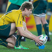 James O' Connor, Australia, prepares to kick during the Australia V Wales Bronze Final match at the IRB Rugby World Cup tournament, Auckland, New Zealand. 21st October 2011. Photo Tim Clayton...
