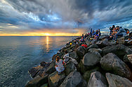 Oceania; Australia; Australian; Down Under; Victoria, Melborne, St. Kilda, sunset at the pier