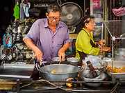 12 JULY 2018 - SAMUT PRAKAN, SAMUT PRAKAN, THAILAND: A street food vendor near Pak Nam market in Samut Prakan.     PHOTO BY JACK KURTZ