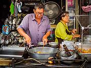 12 JULY 2018 - SAMUT PRAKAN, SAMUT PRAKAN, THAILAND: A street food vendor near Pak Nam market in Samut Prakan.     PHOTO BY JACK KURTZ
