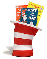 dr seuss books in a red and white striped hat